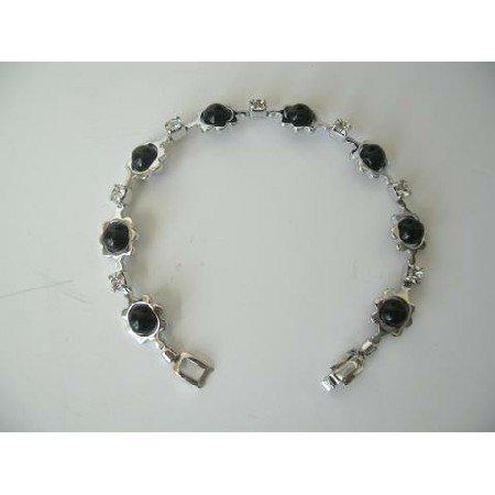 UBR036  Confetti Black Pearls Bracelet & Cubic Zircon Bracelet 7 Inches