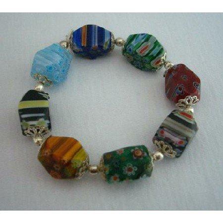 UBR022  Comfortable Stretchable Bracelet Millefiori Murano Glass Bead Bracelet