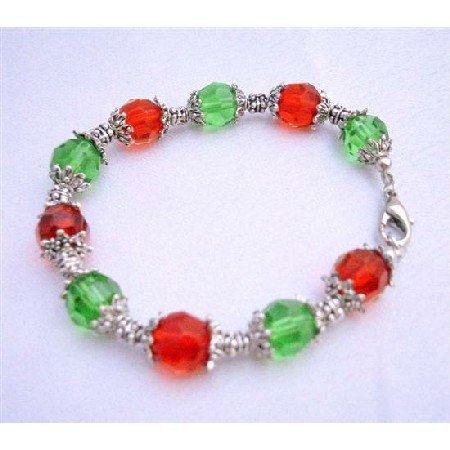 U022  Red & Green Glass Beads w/ Daisy Spacer Christmas Jewelry