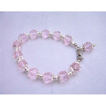 U048  Beautiful Pink Crystals Bracelet w/ Dangling Bead Classy Bracelet