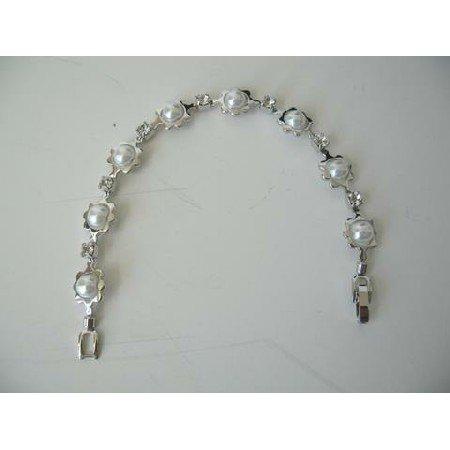 UBR038  Delicate Bracelet White Pearls & Cubic Zircon Bracelet 7 Inches
