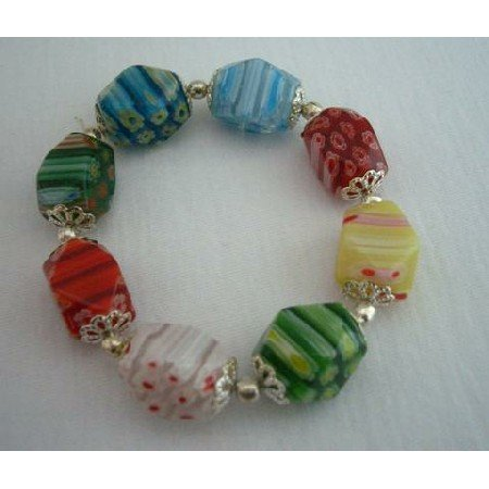 UBR023  Millefiori Murano Glass Bead Bracelet Stretchable Comfortable Bracelet