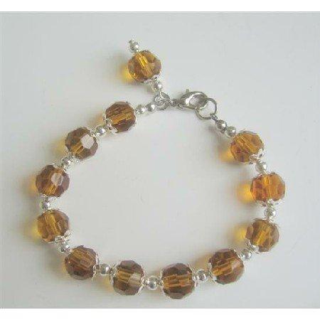 UBR051 Smoked Topaz Color Immitation Crystals Good Quality Beads Bracelet w/Bali Silver