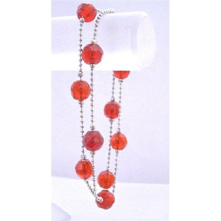 UBR129  Multifaceted Red Crystals Double Stranded Bracelet Simulated Red Crystals 10mm Bracelet