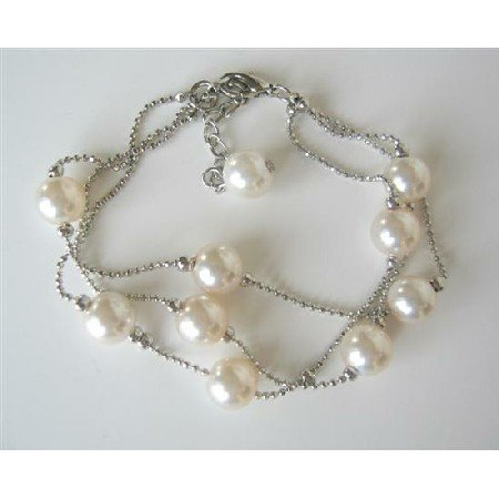 UBR001  Three Stranded Ivory Beaded Bracelet