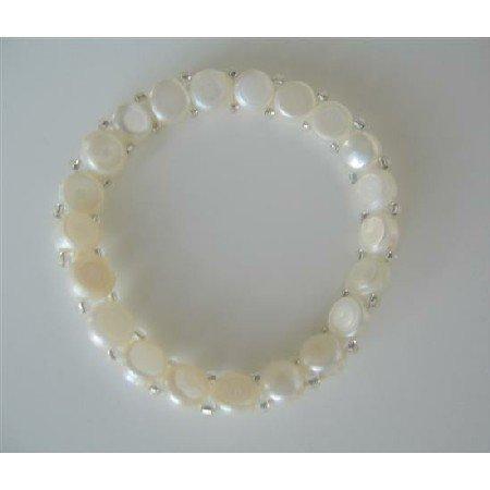 UBR063  White Freshwater Pearls Stretchable Bracelet