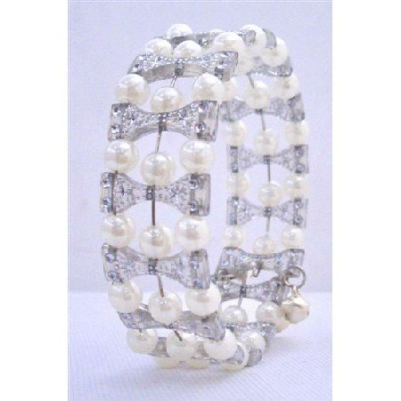 UBR130  Cream Simulated Pearls & Grey Classy Cuff Bracelet Bangle/Stretchable Bracelet