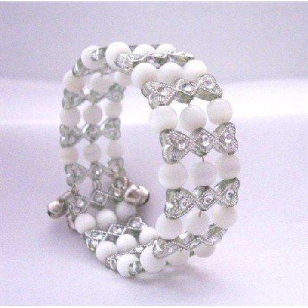 UBR096  Grey & White Classy Cuff Bracelet Bangle/Stretchable Bracelet