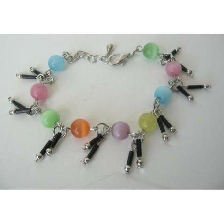 UBR043  Multi Color Simulated Cat Eye Beaded Bracelet w/ Dangling Bracelet 7 Inches