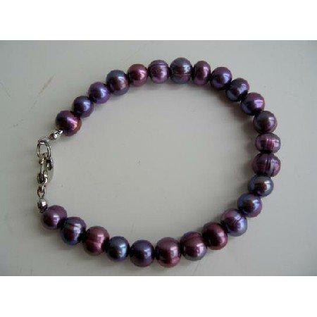 UBR048  Purple Freshwater Pearls Jewelry Genuine PUrple Metallic Pearls Bracelet