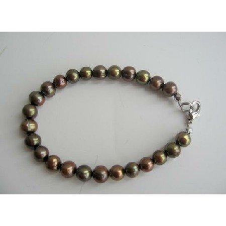 UBR050  Olivine Pearls Jewelry Dyed Brown Olivine Metallic Freshwater Pearls Bracelet