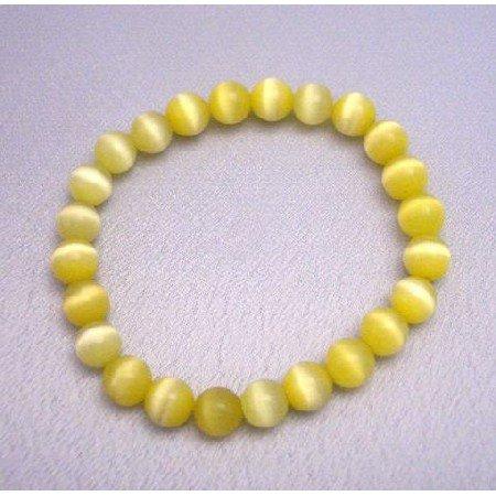 UBR025  Handcrafted Bracelet Yellow Stretchable Bracelet Cat Eye Beaded Bracelet