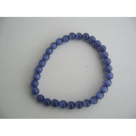 UBR058  Stretchable Bracelet Royal Blue Cat Eye Beaded Bracelet Handmade Jewelry