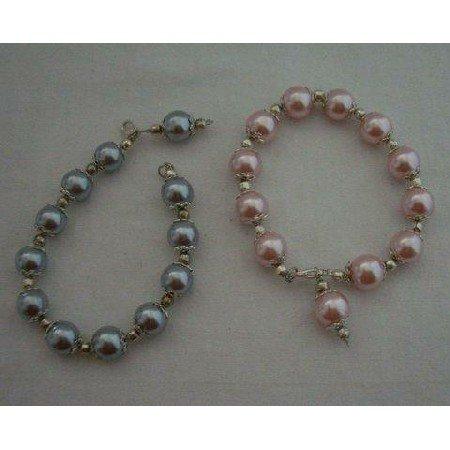 U056  Cultured Pink Pearls Bracelet w/ Hanging Pearls