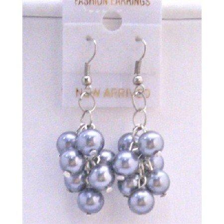 U067  Pearls Grape Bunch Earrings Grey Pearls Chandelier Earrings