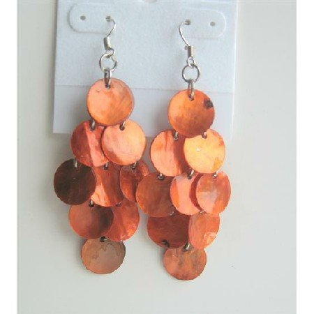 UER122  Orange Citrine Shell Chandelier Earrings Sexy Mop Shell Dangle Earrings