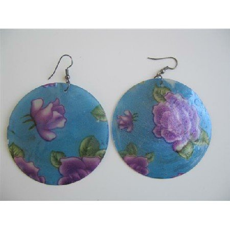 UER117  Fashion Round Mop Shell Earrings Painted Shell Earrings