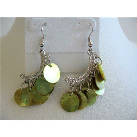 UER085  Olive Green Mop Shell Dangling Earrings Half Moon Chandelier Earrings