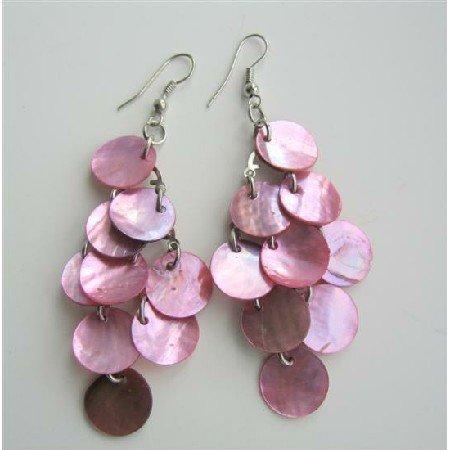 UER059  Pink Shell Chandelier Earrings Mop Shell Dangle Earrings