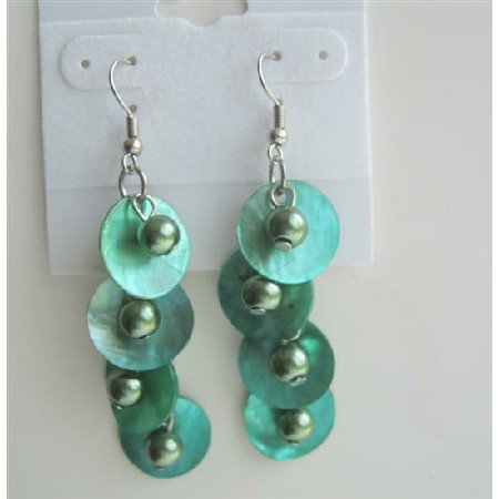 UER146  Green Beads And Shell Dangle Chandelier Earrings