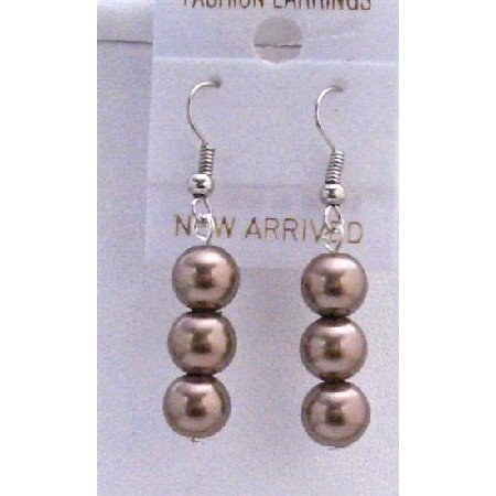 U064  Brown Pearls Earrings