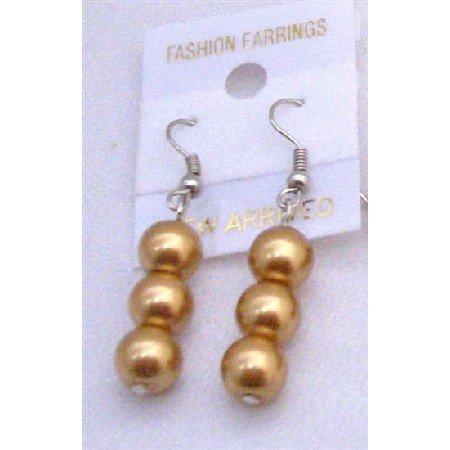 U113  Golden Pearls Earrings 3 Pearls Earrings