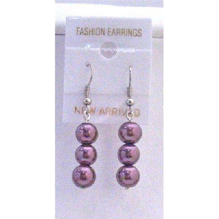 U075  Purple Earrings Purple Pearls Beads Earrings