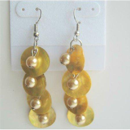 UER119 Shell&Simulated Pearls Dangle Earrings Yellow Mop Shell w/ Leamon Beads Earrings