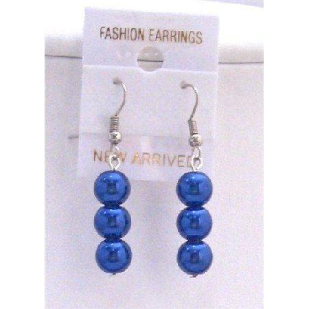 U118  Striking Smashing Dark Blue Pearls Earrings 3 Pearls Earrings