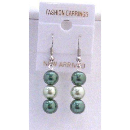 U110  Pearls In 2 Colors Earrings Lite & Dark Green Earrings
