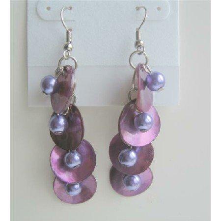 UER082  Purple Shell & Simulated Pearls Shell Chandelier Earrings Shell w/ Beads Dangle Earrings