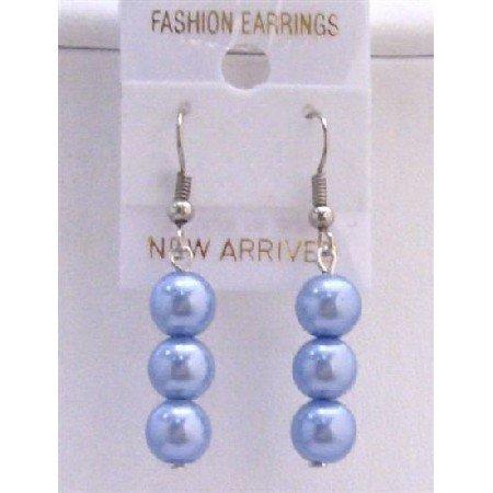 U119  Aquamarine Light Blue Pearls Earrings