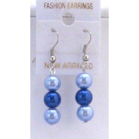 U116  Two Pearls Color Earrings Light & Dark Blue Pearls Earrings