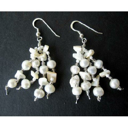 UER072  Freshwater Pearls & White Stone Chip Sterling Silver Earrings