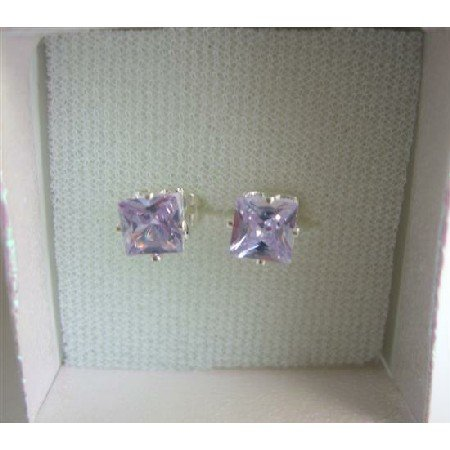 UER162  8mm Lavender Cubic Zircon Prince Cut Stud Earrings w/ Gift Box Packing