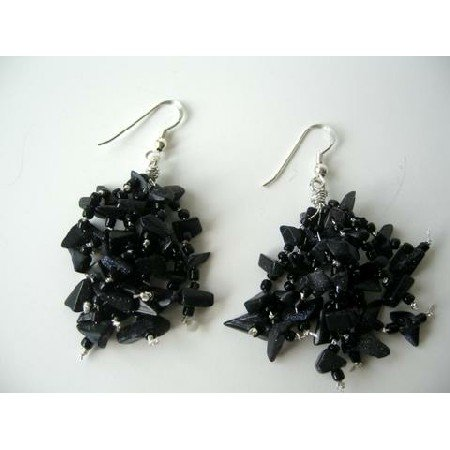 UER086  Custom Sterling Silver Earrings w/ Black Onyx Stone Chip Earrings