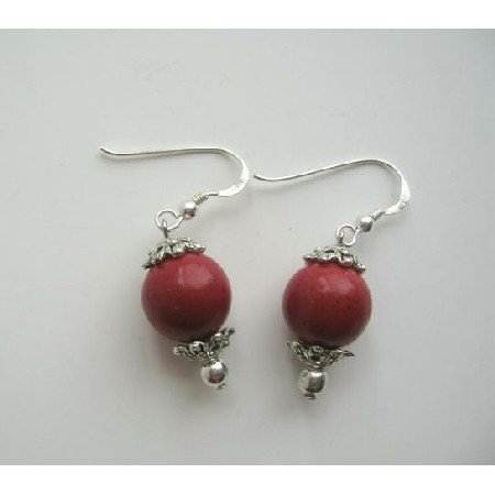 UER091  Earrings Sterling Silver Coral Bead stone Bead w/ Daisy Spacing Dangle Earrings