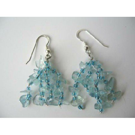 UER087  Sterling Silver Handmade Aquamarine Stone Chip Earrings