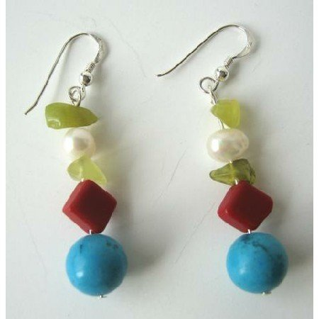 UER088  Apple Jade Freshwater Pearls Red Coral Bead & Turquoise Sterling Silver Earrings