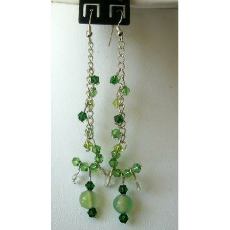 UER064  Stylish Earrings Simulated Green Crystals Dangling Earrings