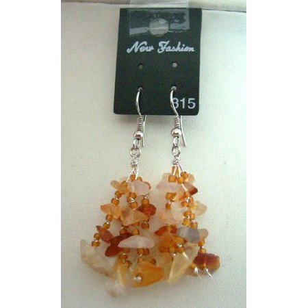 UER050  Genuine Carnelian Stone Chip Bead Earrings Custom Handcrafted Jewelry