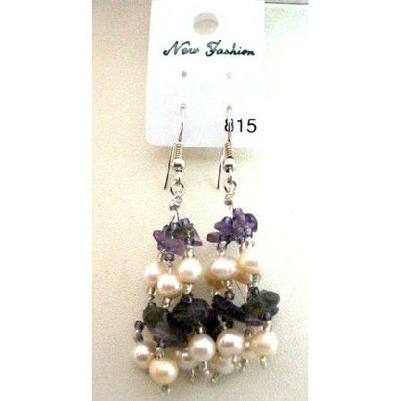 UER048  Genuine Amethyst Stone Beads & Freshwater Pearls w/ Glass Beads Dangling Earrings