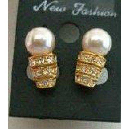 UER034  Dainty Pearls Stud Earrings 22k Gold Plated w/ CZ Embossed