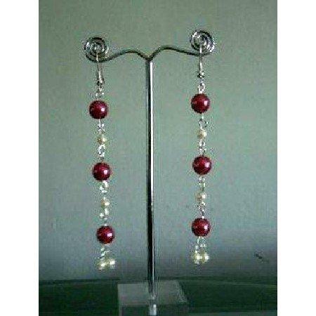 U089  Cultured Pearls Drop Earrings w/ Red & Cream Colors Earrings