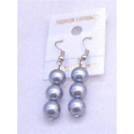 UER115  Big Off White Simulated Pearls Earrings