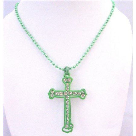 HH218  Green Cross Pendant Fully Embedded With Diamante Cubic zircon Diamante Jewelry