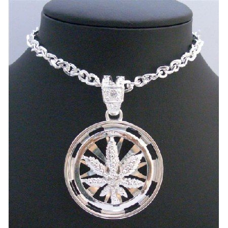 HH196 Weed Spinning Pendant Round Spinning Pendant Men Jewelry Pendant w/Cubic Zircon