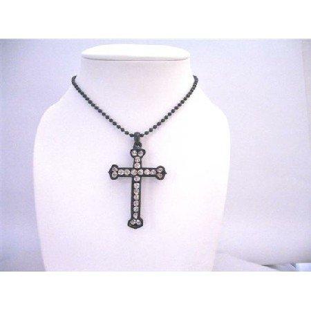 HH220  Cross Diamante Pendant Black Cross w/ Fully Embedded Cubic zircon Cross Pendant Jewelry