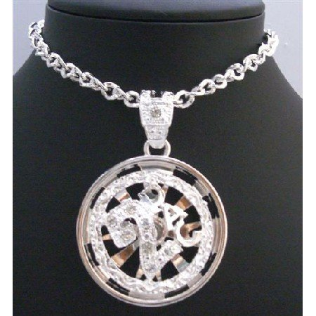 HH200 Spinning Pendant Fully Embbeded With Cubic Zircon Sparkling Like Diamond Long Necklace