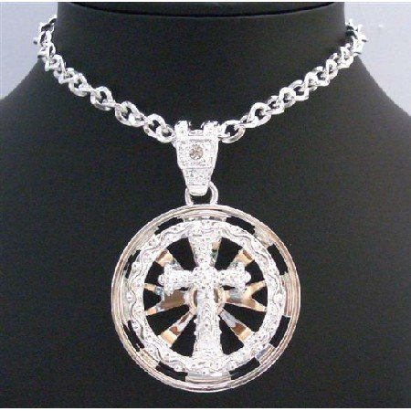 HH202Long Cross Pendant Necklace Spinning Cross Pendant NecklaceS Spinning Pendant Necklace